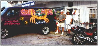 Crab Shack van hand lettered and airbrushed